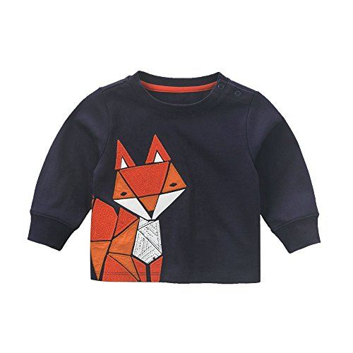 DAVE & BELLA Baby Boys Top Leisure Style Graphic Sport Tee Fox Pattern Navy - 12M-6T (24M)