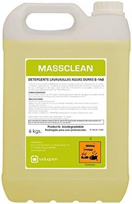 Induquim Jabón Detergente de Lavavajillas Máquina Especial Aguas Duras 6 Kg, Producto Profesional indicado en vajillas, cristalerías, cuberterías, etc, Mediante lavavajillas y túneles de Lavado.