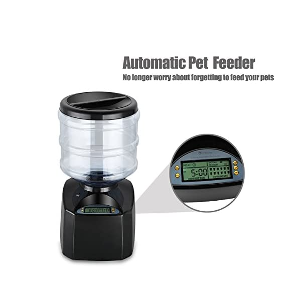 PETCUTE 5.5 Liters LCD Automatic Pet Feeder Dog Feeder Cat Food Dispenser Auto Holiday Dispenser with Voice Recorder Click on image for further info. 5