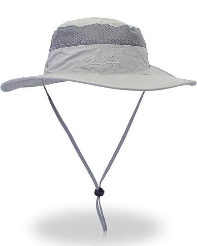 Cool Sun Hat (YOYEAH UPF 50+ Wide Brim Sun Protection Hat Outdoor Mesh Sun Hat Windproof Fishing Hats Light Grey)