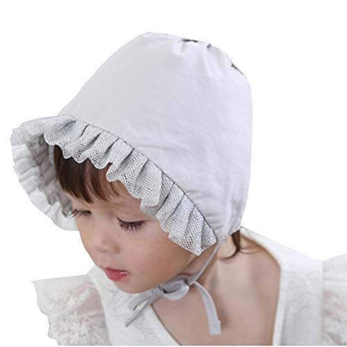 Baby Little Kids Toddlers Breathable Lacy Bonnet Eyelet Cotton Adjustable Sun Protection Hat (Gray-1)