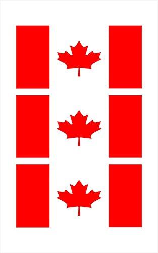 3 - Canadian Canada Flag Hard Hat Biker Helmet Stickers Decal (Canadian Canada)