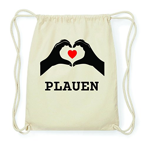 JOllify PLAUEN Hipster Turnbeutel Tasche Rucksack aus Baumwolle - Farbe: natur Design: Hände Herz IIIZq