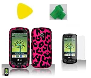 Bundle Lg 505C Pink Leopard + Yellow Pry + Extreme Band + Lcd Screen Protector Straight Talk Net 10 Design Hard Case Skin Cover Protector Accessory Lg 505C Lg505C Lg 505 C