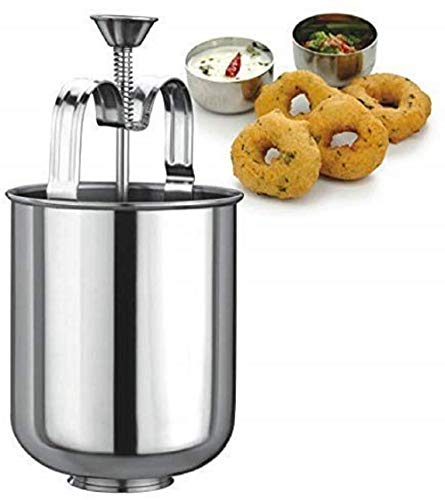 SS Ecom Stainless Steel Meduvada/Wada Maker, Donut/Doughnut Maker Batter Dispenser, DIY Tool Kitchen Pastry Making Bakeware - Silver