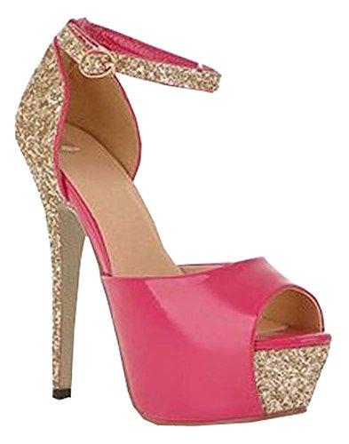 5 Farben Größe 34 bis 38,5 reizvolle Absatz-Plattform-Schuhe Pumps Damen Kleid Mode-Hochzeits-Schuhe der Dame Pump pfirsich rote
