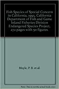Fish species of special concern in california 1995 for Department of fish and game california