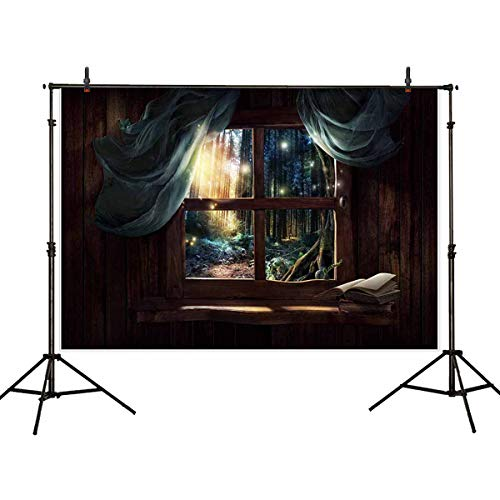 Allenjoy 7x5ft Viny Photography Backdrop Children Photography Backdrop Wood Chalet Window Backdrop Wild Forest Backdrop (Chalet Window)