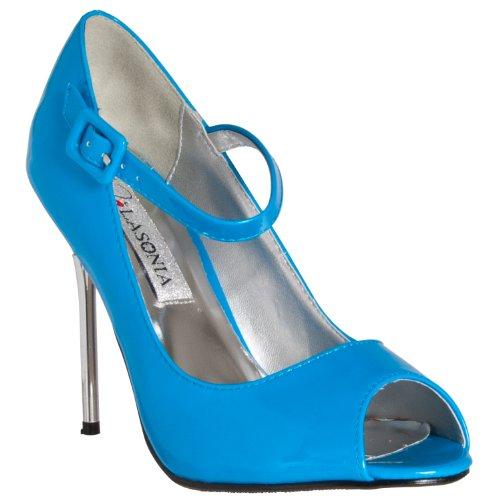 Tacchi A Spillo Stile Lasagne Womens Peep Toe Mary Jane Blu