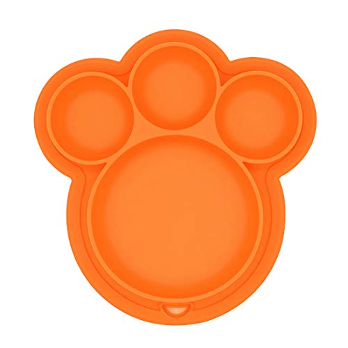Baby Placemat, MMBABY Silicone Child Feeding Plate with Suction Cup Fits Most Highchair Trays (Orange Plate+Spoon)