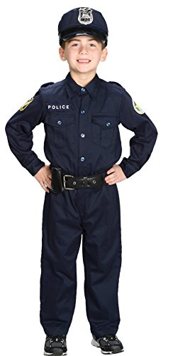 UHC Boy's Police Officer Jumpsuit Child Outfit Halloween Fancy Costume, Child S (4-6)
