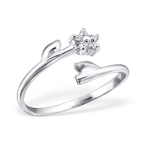 Pro Jewelry 925 Sterling Silver Adjustable ''Flower and Leaves w/ White Crystal'' Above Knuckle Ring Mid Finger or Toe Ring 6885