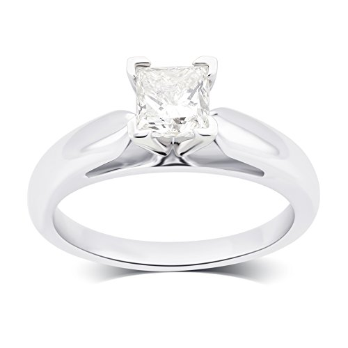 - 1.00 Cttw Princess Cut Cathedral Solitaire Engagement Ring in 14K White Gold