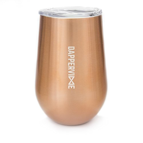 Stainless Steel Wine Tumbler with Lid by DAPPERVINE, stemless wine glass, unbreakable, shatterproof, double wall insulated, great for wine, coffee and tea, for camping and outdoor use (copper, 12oz) (Coffee Glass Cups Brown)