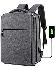 حقيبة ظهر مضادة للسرقة مقاس 15.6 بوصة قابلة لإعادة الشحن USB ، حقيبة مدرسية للكمبيوتر المحمول ، حقيبة سفر مقاومة للماء ، حقيبة ظهر للمراهقين (اللون: أسود - رمادي)