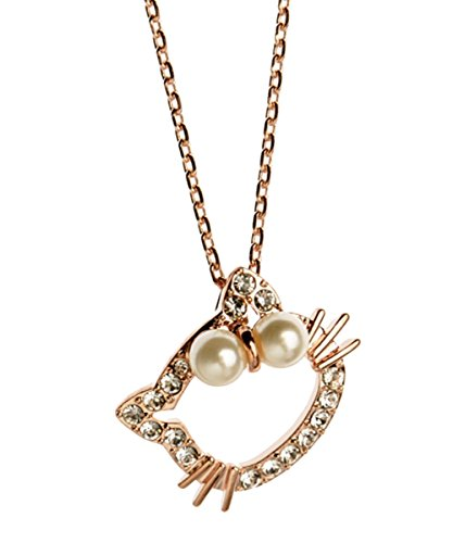 Rose Gold Plated Hollow Style Hello Kitty Animal Cat Pendant with Cubic Zirconia and White Cultured Pearl Bow Tie Necklace