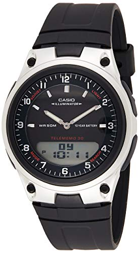 Casio Unisex-Adult Quartz Watch, Analog-Digital Display and Resin Strap AW-80-1A