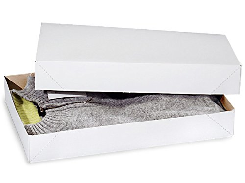 Recycled White Apparel Boxes - White Economy Apparel 17x11x2-1/2'' 100% Recycled ~ 2 Piece Pop Up Box (50 Boxes) - WRAPS-AB4E