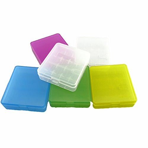 Honbay Battery Storage Case/Box/Organizer/Holder for 4 18650 Batteries or 8 CR123A Battery, Pack of 6 (Multi-colored)