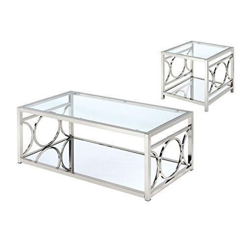 HOMES: Inside + Out IDF-4166CRM-2PC Ortencia 2 PC Champagne O-Ring Frame Coffee Table Set