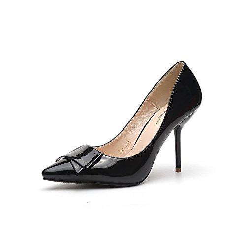 tacchi tacco scarpe 9 donne alti pattini Black scarpe alta Bow i singoli Tie fine con Punta sottolineato 5cm con di 8CxqWntwS