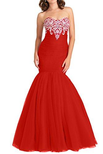 Figurbetont Abendkleider Lang 2016 Rot Braut Meerjungfrau Hochwertig mia Promkleider stickreien Abiballkleider La Neu nqAxOvCwwR