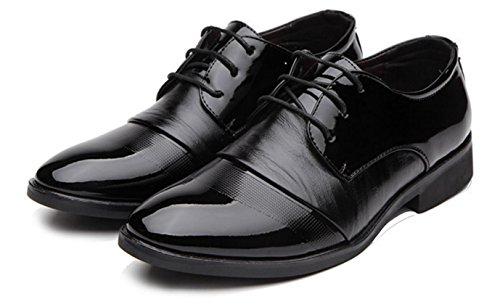 HYLM El nuevo cordón de los hombres de calza los zapatos de los hombres ocasionales del negocio Wedding los zapatos del banquete Black