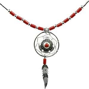 Noda Esterlina Plata Roja Imitacion Coral Pequeno Colector Ideal Collar 46cm