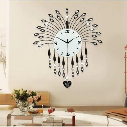 Jedfild Rocking Wall Clock Drawing continental creative Iron Art Clocks ultra-quiet bedroom clock