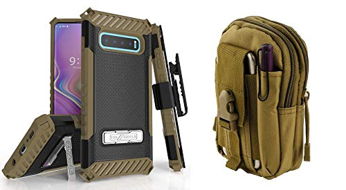 BC Tri Shield Compatible with Samsung Galaxy S10+ Plus Case Military Grade Cover Belt Clip Holster (Black/Brown) with Tactical Organizer Travel Pouch (Khaki) and Atom Cloth (Pack Military Battery Grade)