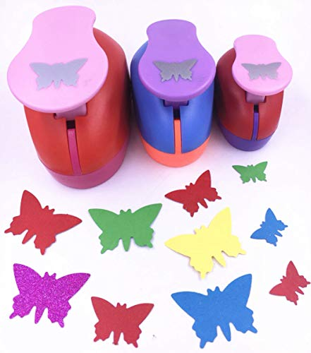 Butterfly Paper Punch - TECH-P Set of 3PCS (2 inch+1.5 inch+1inch) Craft Punch Set Paper Punch Paper Punch Tool Eva Punches for Making Arts Crafts Projects Cards Scrapbooking Garland Hanging Decorations (Butterfly)