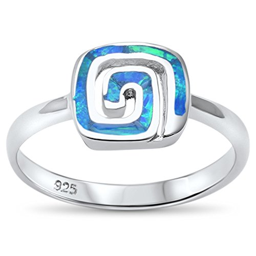 Sterling Silver Lab Created Opal Spiral Trendy Design Ring Sizes 9