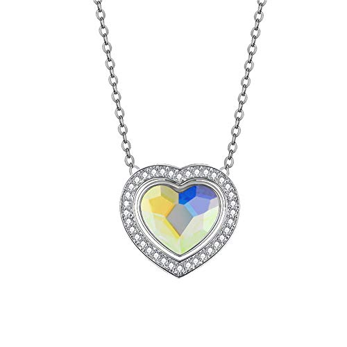- Kemstone Love Heart Necklace Silver Tone Crystal Double Embracing Heart Necklace Jewelry, Crystal from Swarovski, 15.75