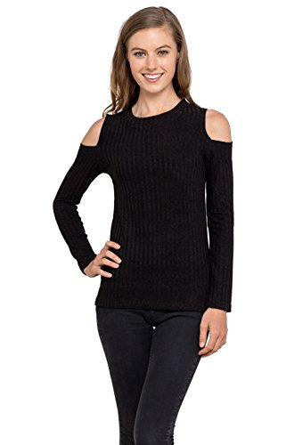 Womens Cold Shoulder Knitted Top - Long Sleeve Pullover Sweater, Velucci (Black L)