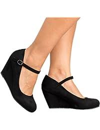 Womens Platform Wedge Pump Ankle Strap Round Toe Loafer Shoes Dressy High Heel