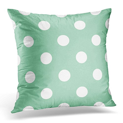 - Breezat Throw Pillow Cover Blue Christmas with Huge White Polka Dots on Retro Vintage Mint Green Wedding Albums Arts and Scrapbooks Decorative Pillow Case Home Decor Square 16x16 Inches Pillowcase