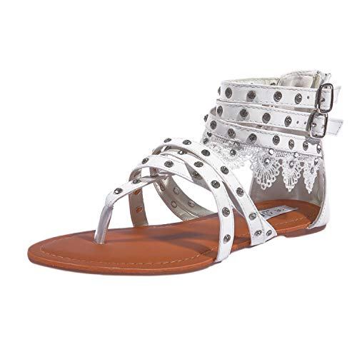 SheSole Women's White Summer Flat Gladiator Sandals Lace Thong Beach Wedding Shoes US Size 10