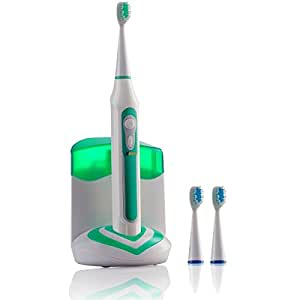 Xtech XHST-100 Oral Hygiene Ultra High Powered 40,000VPM, 5 Brushing Modes, Rechargeable Electric Ultrasonic Toothbrush with Charging Dock & Built-in UV Sanitizer, Includes 3 Brush Heads