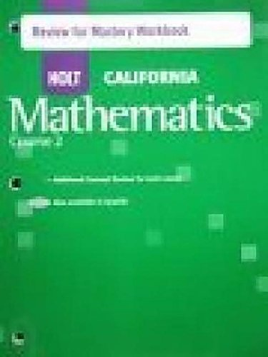 Holt Mathematics California: Review for Mastery Workbook Course 2