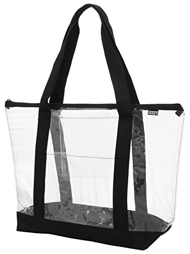 (Ensign Peak Clear ZIPPER tote with color trim and bottom, Black trim,One Size)