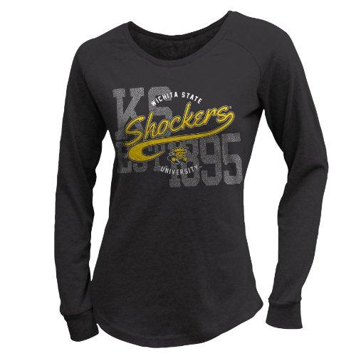 NCAA Wichita State Shockers W Scoop Neck Long Sleeve Tee, L, Black