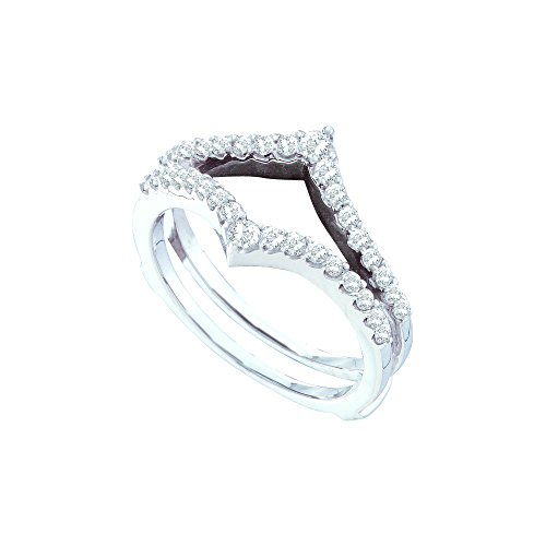 14kt White Gold Womens Round Diamond Ring Guard Wrap Enhancer Wedding Band 1/2 Cttw by JawaFashion