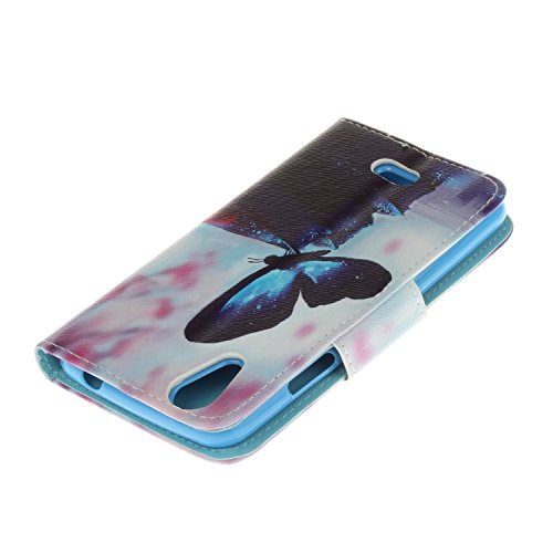 Ecoway Para Wiko Rainbow Jam 4G Funda, Serie pintada Caja del teléfono de moda (Pink Leopard) PU Leather Cubierta , Función de Soporte Billetera con Tapa para Tarjetas Soporte para Teléfono Compatible Mariposa