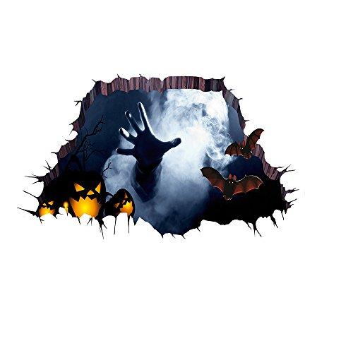 Youbedo Halloween Wall Decals Scared Ghost Hand Bloodcurdling 3D Broken Wall Sticker Happy Halloween Decorations for Kids -