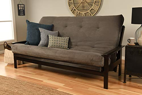 Jerry Sales Queen or Full Size Montreal Espresso Futon Frame w/ 8 Inch Innerspring Mattress Sofa Bed Wood Futons (Grey Mattress and Frame Only (Queen Size))