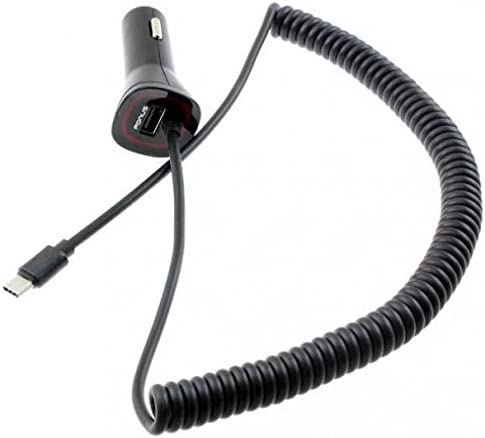 Z2 Z3 Play Droid Coiled Cable Z3 Force for Motorola Moto Z Z3 3.4Amp Type-C Rapid Car Charger DC Power Adapter USB Port USB-C Connector Black Z2 Compatible with Moto Z Z2 Force