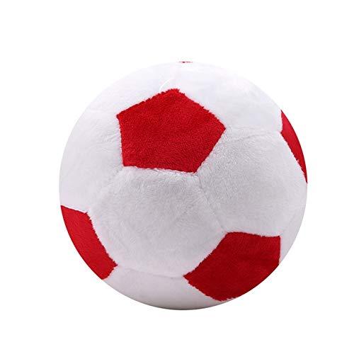 Anstorematealliance Home Textile ホームテキスタイルサッカーボール柄ぬいぐるみ枕玩具キッズスポーツソファおもちゃルームオフィスカーデコレーション枕、直径:20 cm(ブラックホワイト) (色 : Red White)  Red White B07S536BYZ