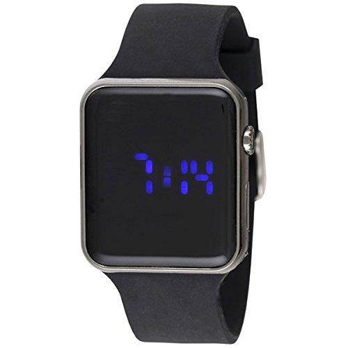 Ravel LED-Armbanduhr poliertes Geschützmetall-Gehäuse Herren Digitale Armbanduhr schwarzes Silikonband RLED. 33