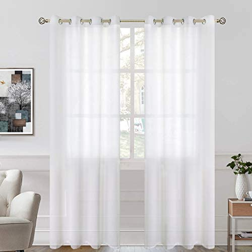 BGment Linen Look Semi Sheer Curtains for Bedroom, Grommet Light Filtering Casual Textured Privacy Curtains for Living Room, 2 Panels Each 52 x 95 Inch, White