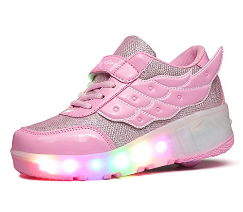 FOUPLER Boy And Girl's LED Light Up Roller Skate Shoes With Wheels Or Wings Outdoor(Little Kid/Big Kid) Pink 2 M/ EU 34